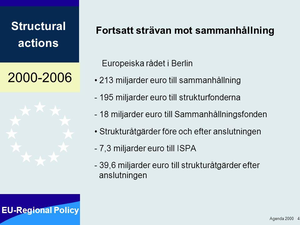 2000-2006 EU-Regional Policy Structural actions Agenda 2000 4 Fortsatt strävan mot sammanhållning Europeiska rådet i Berlin 213 miljarder euro till sa