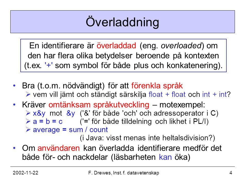 2002-11-22F. Drewes, Inst. f. datavetenskap4 Överladdning Bra (t.o.m.