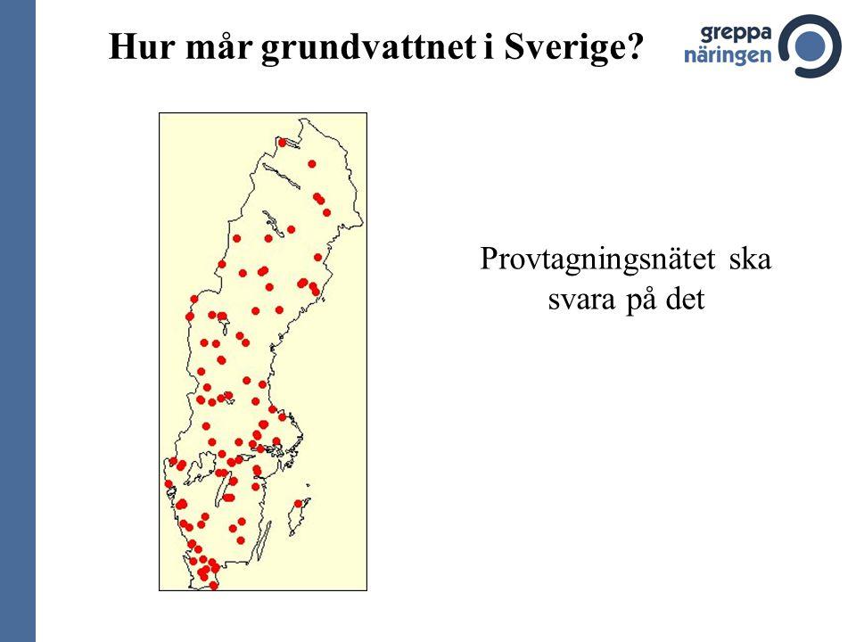 Hur mår grundvattnet i Sverige Provtagningsnätet ska svara på det