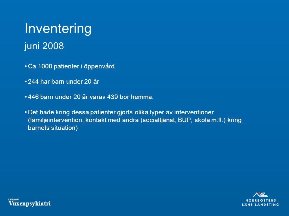 DIVISION Vuxenpsykiatri Inventering juni 2008 Ca 1000 patienter i öppenvård 244 har barn under 20 år 446 barn under 20 år varav 439 bor hemma.