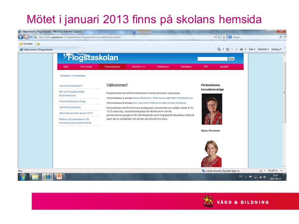 Mötet i januari 2013 finns på skolans hemsida