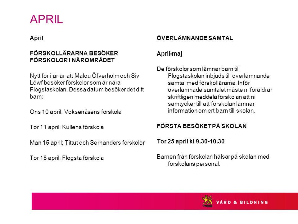 APRIL April FÖRSKOLLÄRARNA BESÖKER FÖRSKOLOR I NÄROMRÅDET Nytt för i år är att Malou Öfverholm och Siv Löwf besöker förskolor som är nära Flogstaskolan.