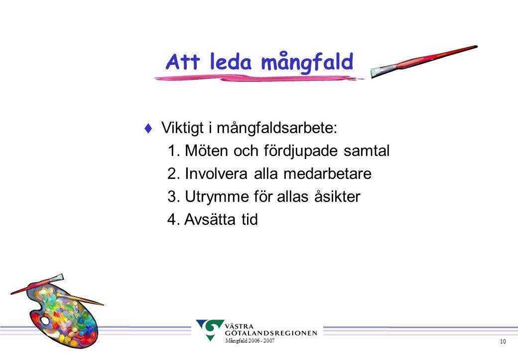 10 Mångfald 2006 - 2007  Viktigt i mångfaldsarbete: 1.