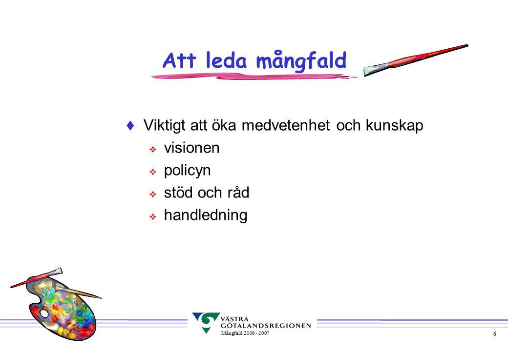 6 Mångfald 2006 - 2007  Viktigt att öka medvetenhet och kunskap v visionen v policyn v stöd och råd v handledning Att leda mångfald