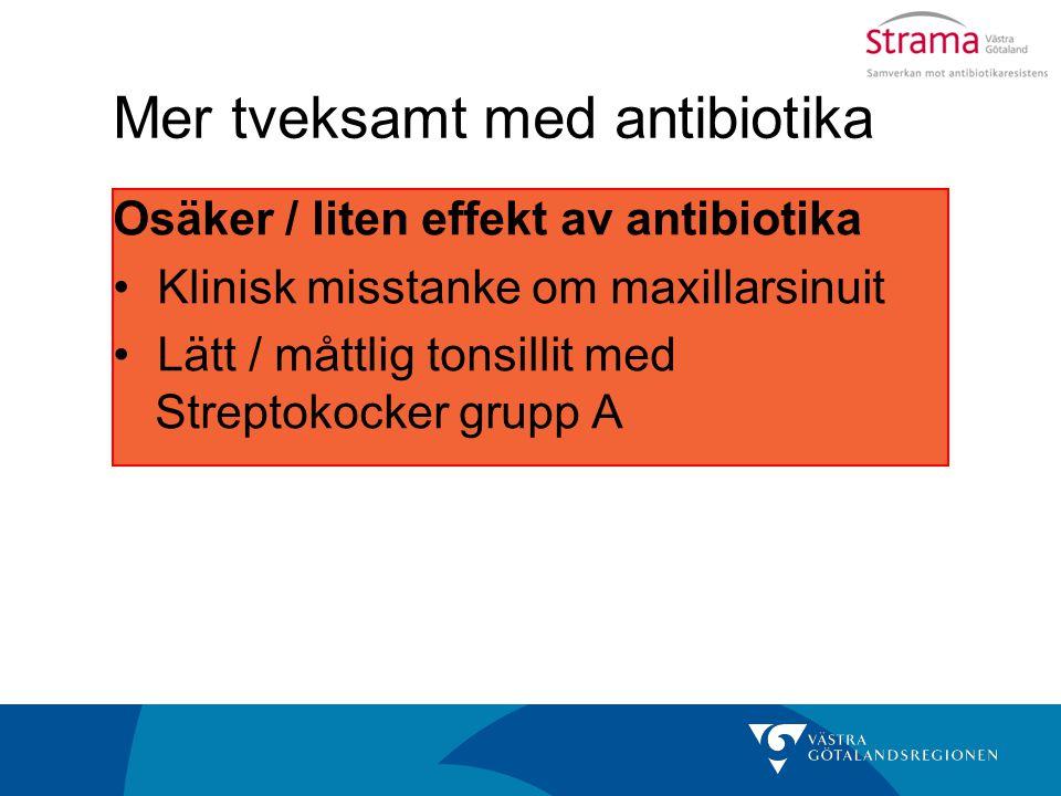 Mer tveksamt med antibiotika Osäker / liten effekt av antibiotika Klinisk misstanke om maxillarsinuit Lätt / måttlig tonsillit med Streptokocker grupp