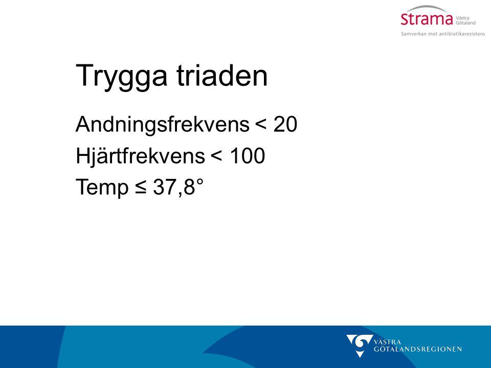 Trygga triaden Andningsfrekvens < 20 Hjärtfrekvens < 100 Temp ≤ 37,8°