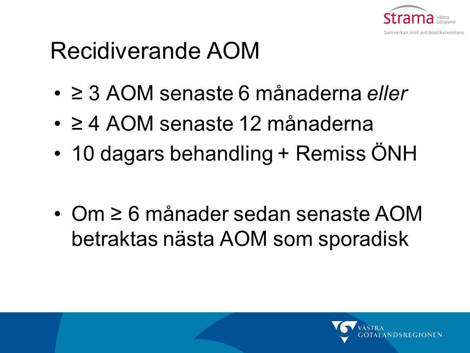 Recidiverande AOM ≥ 3 AOM senaste 6 månaderna eller ≥ 4 AOM senaste 12 månaderna 10 dagars behandling + Remiss ÖNH Om ≥ 6 månader sedan senaste AOM be