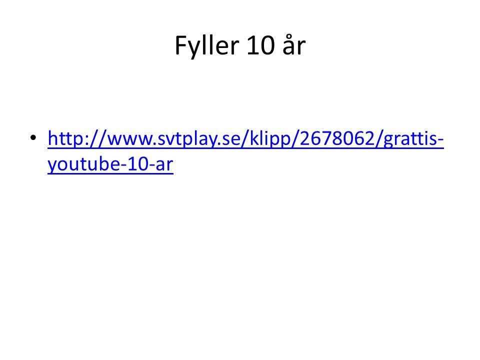 Fyller 10 år http://www.svtplay.se/klipp/2678062/grattis- youtube-10-ar http://www.svtplay.se/klipp/2678062/grattis- youtube-10-ar