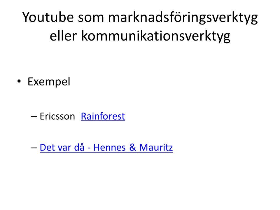 Youtube som marknadsföringsverktyg eller kommunikationsverktyg Exempel – Ericsson RainforestRainforest – Det var då - Hennes & Mauritz Det var då - Hennes & Mauritz