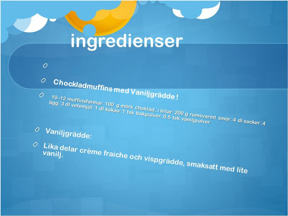 ingredienser Chockladmuffins med Vaniljgrädde .