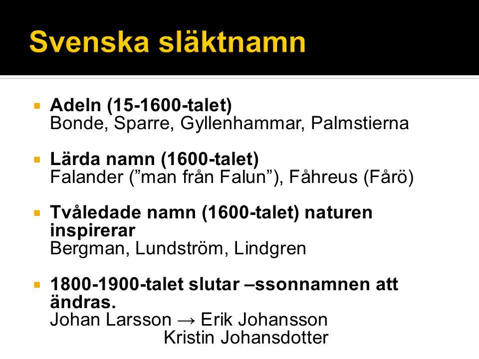  Adeln (15-1600-talet) Bonde, Sparre, Gyllenhammar, Palmstierna  Lärda namn (1600-talet) Falander ( man från Falun ), Fåhreus (Fårö)  Tvåledade namn (1600-talet) naturen inspirerar Bergman, Lundström, Lindgren  1800-1900-talet slutar –ssonnamnen att ändras.