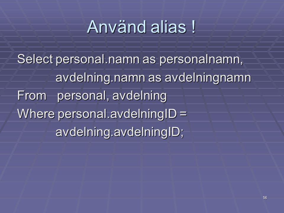 14 Använd alias .