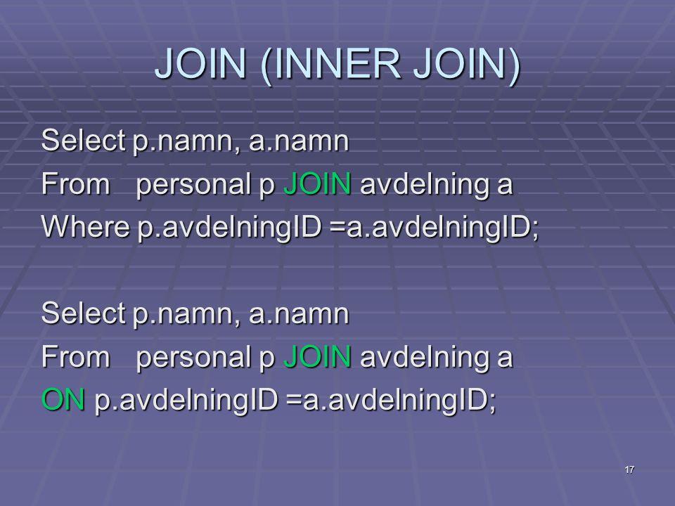 17 JOIN (INNER JOIN) Select p.namn, a.namn From personal p JOIN avdelning a Where p.avdelningID =a.avdelningID; Select p.namn, a.namn From personal p JOIN avdelning a ON p.avdelningID =a.avdelningID;