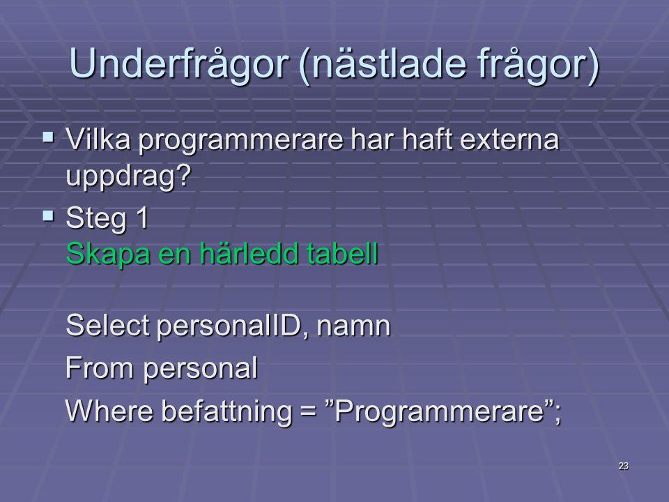 23 Underfrågor (nästlade frågor)  Vilka programmerare har haft externa uppdrag.