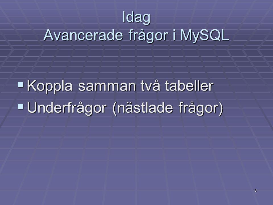 3 Idag Avancerade frågor i MySQL  Koppla samman två tabeller  Underfrågor (nästlade frågor)