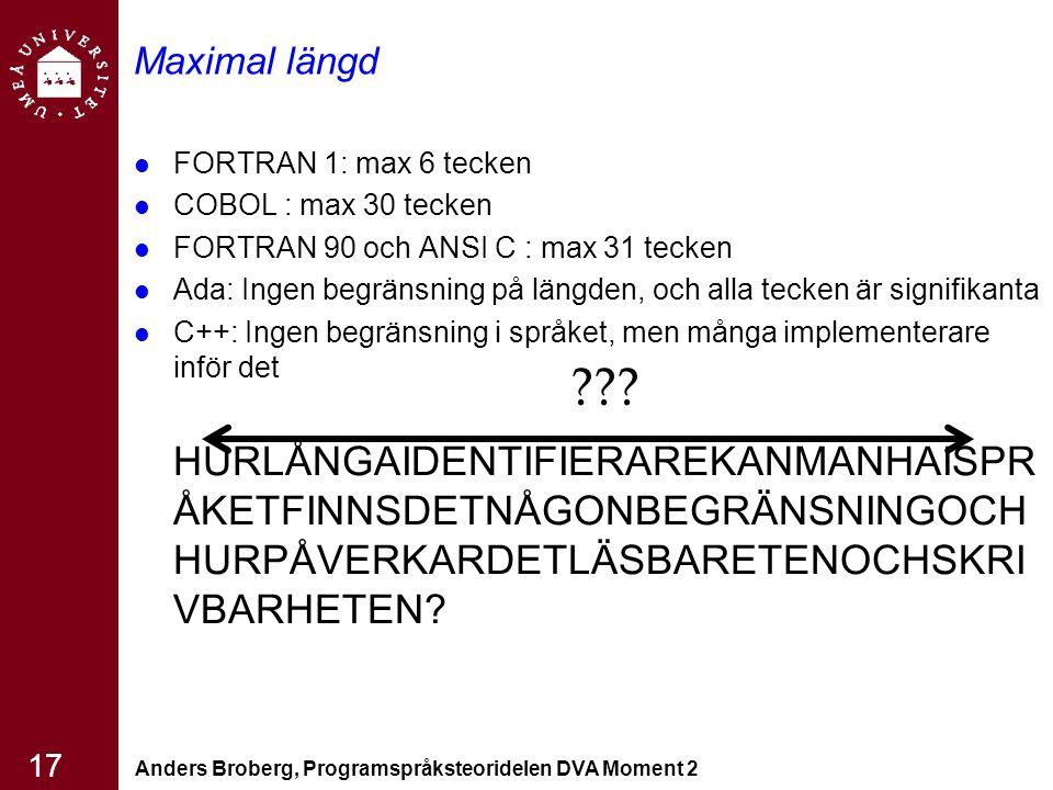 Anders Broberg, Programspråksteoridelen DVA Moment 2 17 Maximal längd FORTRAN 1: max 6 tecken COBOL : max 30 tecken FORTRAN 90 och ANSI C : max 31 tecken Ada: Ingen begränsning på längden, och alla tecken är signifikanta C++: Ingen begränsning i språket, men många implementerare inför det HURLÅNGAIDENTIFIERAREKANMANHAISPR ÅKETFINNSDETNÅGONBEGRÄNSNINGOCH HURPÅVERKARDETLÄSBARETENOCHSKRI VBARHETEN.