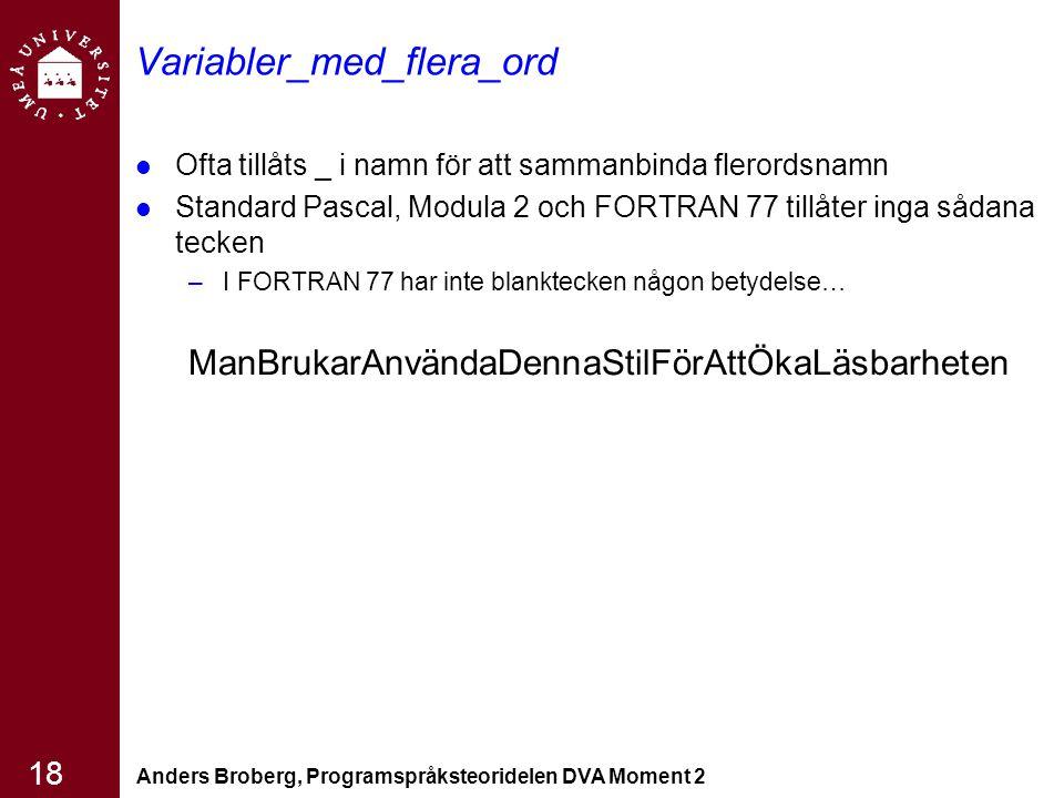 Anders Broberg, Programspråksteoridelen DVA Moment 2 18 Variabler_med_flera_ord Ofta tillåts _ i namn för att sammanbinda flerordsnamn Standard Pascal