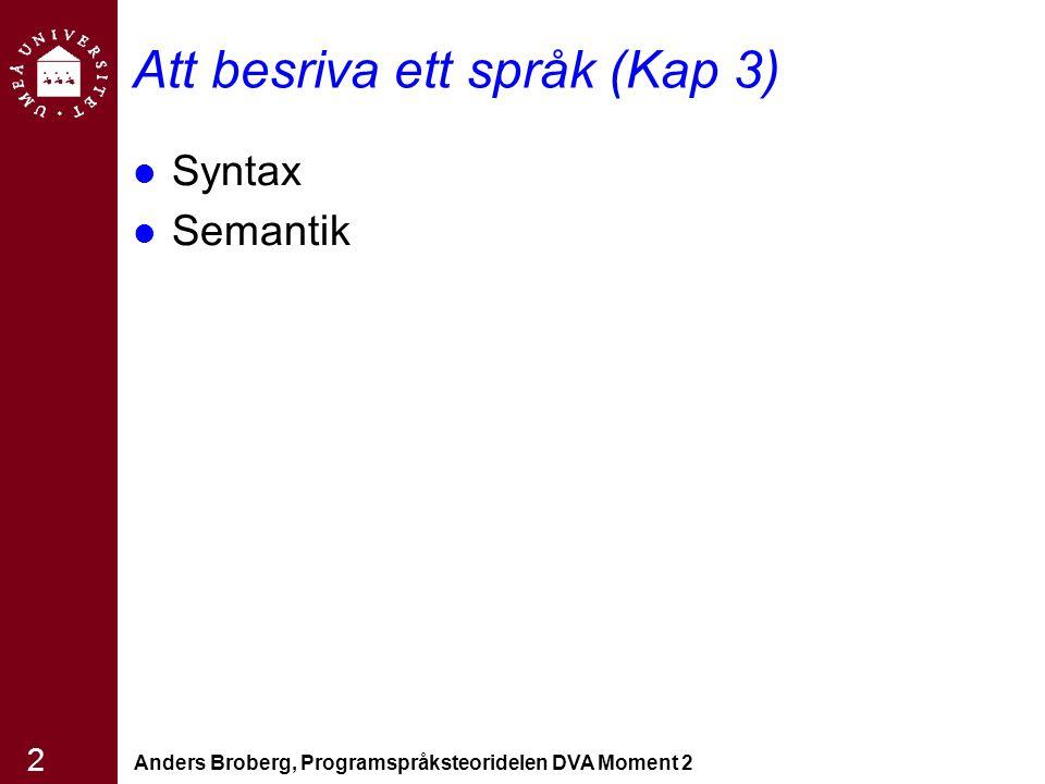 Anders Broberg, Programspråksteoridelen DVA Moment 2 2 Att besriva ett språk (Kap 3) Syntax Semantik