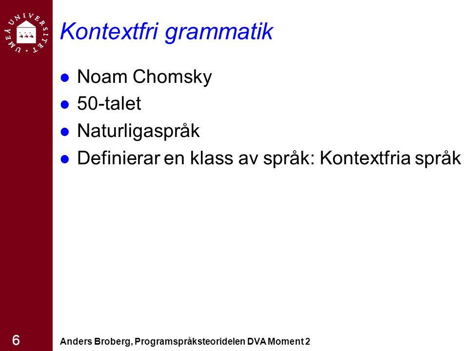 Anders Broberg, Programspråksteoridelen DVA Moment 2 6 Kontextfri grammatik Noam Chomsky 50-talet Naturligaspråk Definierar en klass av språk: Kontext