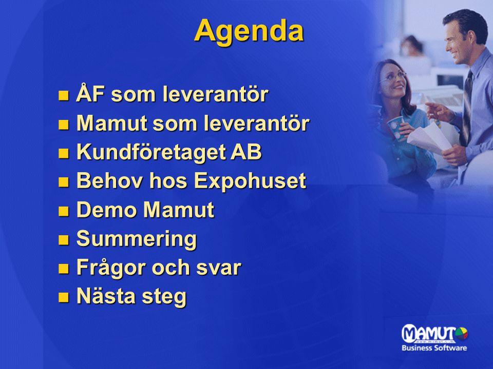 Agenda ÅF som leverantör ÅF som leverantör Mamut som leverantör Mamut som leverantör Kundföretaget AB Kundföretaget AB Behov hos Expohuset Behov hos E