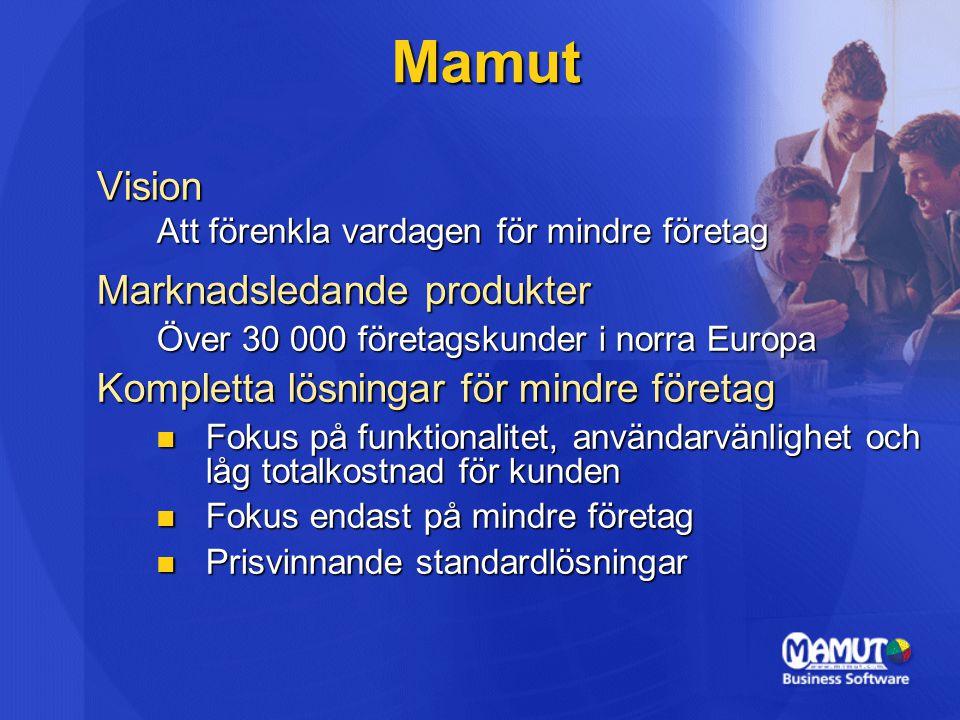 Vision Att förenkla vardagen för mindre företag Marknadsledande produkter Över 30 000 företagskunder i norra Europa Kompletta lösningar för mindre företag Fokus på funktionalitet, användarvänlighet och låg totalkostnad för kunden Fokus på funktionalitet, användarvänlighet och låg totalkostnad för kunden Fokus endast på mindre företag Fokus endast på mindre företag Prisvinnande standardlösningar Prisvinnande standardlösningar Mamut