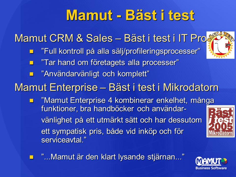 Mamut - Bäst i test Mamut CRM & Sales – Bäst i test i IT Pro Full kontroll på alla sälj/profileringsprocesser Full kontroll på alla sälj/profileringsprocesser Tar hand om företagets alla processer Tar hand om företagets alla processer Användarvänligt och komplett Användarvänligt och komplett Mamut Enterprise – Bäst i test i Mikrodatorn Mamut Enterprise 4 kombinerar enkelhet, många funktioner, bra handböcker och användar- Mamut Enterprise 4 kombinerar enkelhet, många funktioner, bra handböcker och användar- vänlighet på ett utmärkt sätt och har dessutom ett sympatisk pris, både vid inköp och för serviceavtal. ...Mamut är den klart lysande stjärnan... ...Mamut är den klart lysande stjärnan...