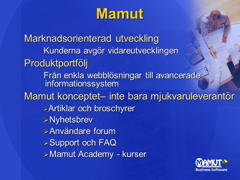 Marknadsorienterad utveckling Kunderna avgör vidareutvecklingen Produktportfölj Från enkla webblösningar till avancerade informationssystem Mamut konceptet– inte bara mjukvaruleverantör  Artiklar och broschyrer  Nyhetsbrev  Användare forum  Support och FAQ  Mamut Academy - kurser Mamut