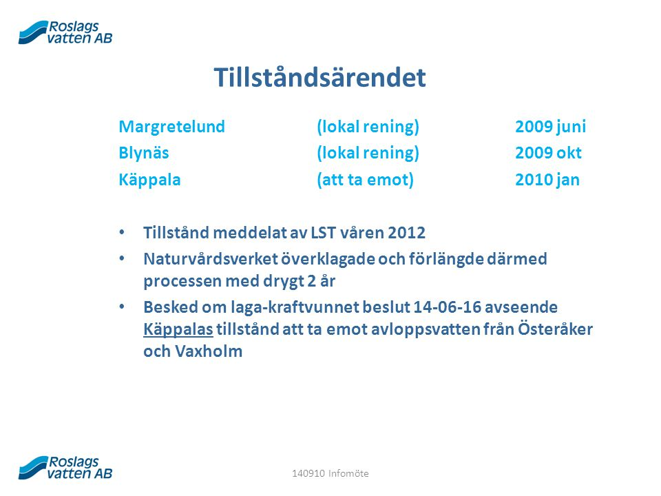 Tillståndsärendet Margretelund (lokal rening)2009 juni Blynäs (lokal rening) 2009 okt Käppala (att ta emot) 2010 jan Tillstånd meddelat av LST våren 2012 Naturvårdsverket överklagade och förlängde därmed processen med drygt 2 år Besked om laga-kraftvunnet beslut 14-06-16 avseende Käppalas tillstånd att ta emot avloppsvatten från Österåker och Vaxholm 140910 Infomöte