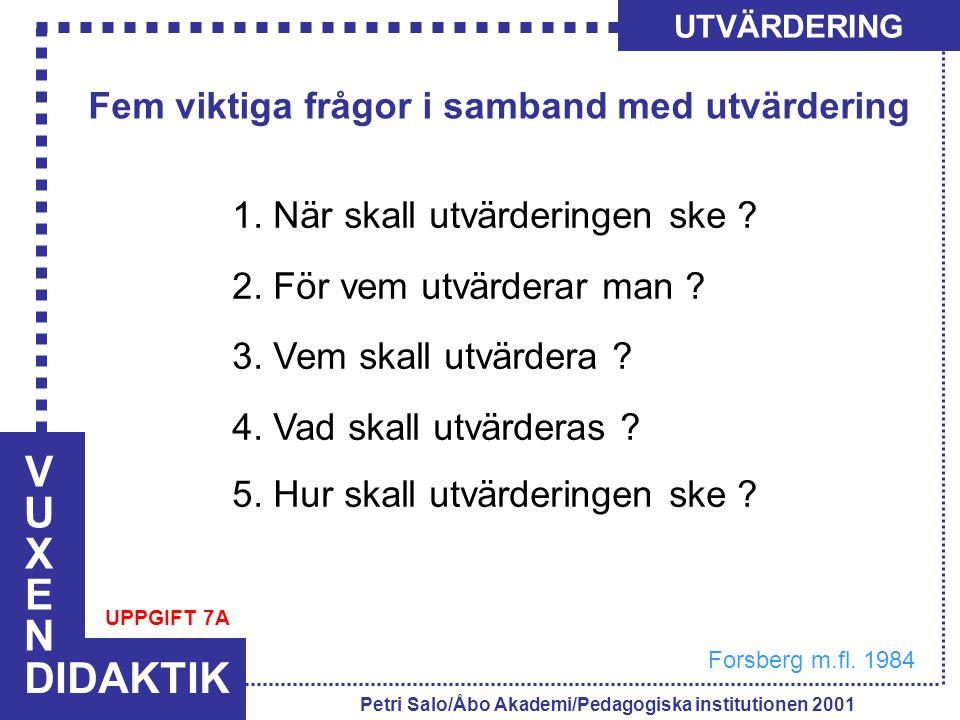 VUXENVUXEN DIDAKTIK UTVÄRDERING Petri Salo/Åbo Akademi/Pedagogiska institutionen 2001 Fem viktiga frågor i samband med utvärdering 1. När skall utvärd