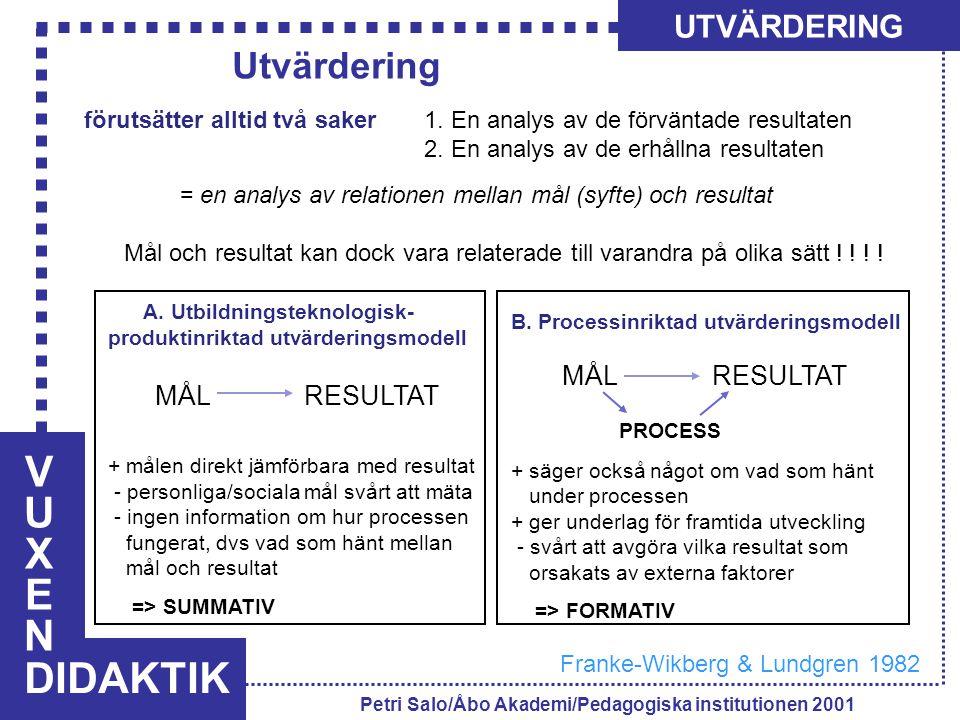 VUXENVUXEN DIDAKTIK UTVÄRDERING Petri Salo/Åbo Akademi/Pedagogiska institutionen 2001 förutsätter alltid två saker 1. En analys av de förväntade resul