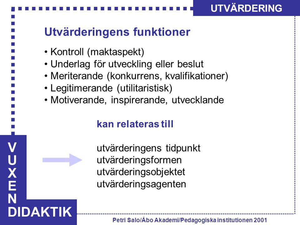VUXENVUXEN DIDAKTIK UTVÄRDERING Petri Salo/Åbo Akademi/Pedagogiska institutionen 2001 Utvärderingens funktioner Kontroll (maktaspekt) Underlag för utv