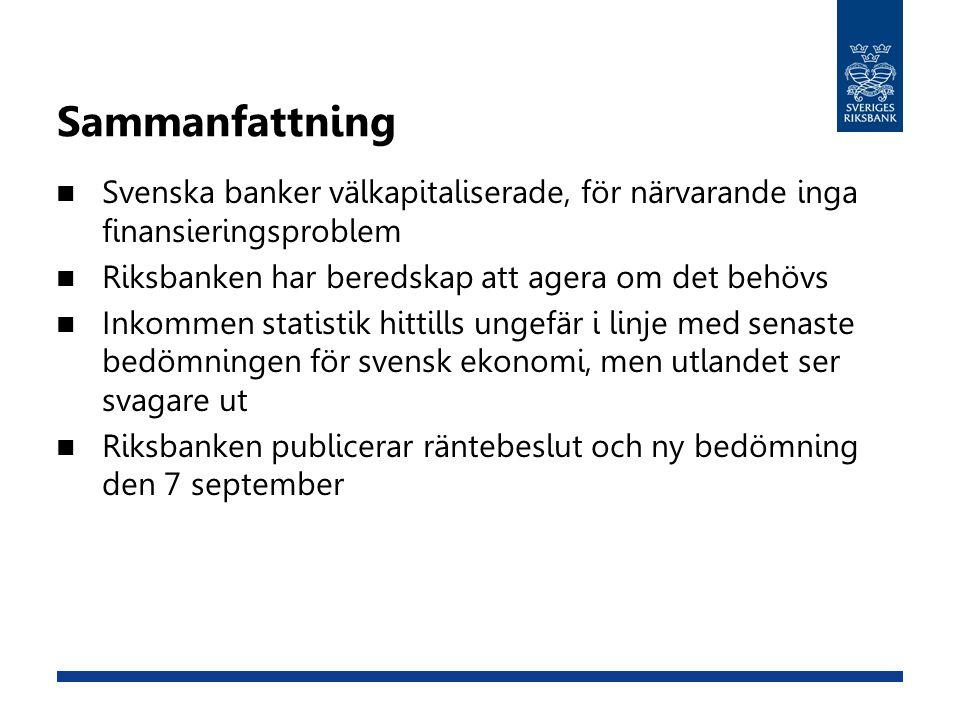 Sammanfattning Svenska banker välkapitaliserade, för närvarande inga finansieringsproblem Riksbanken har beredskap att agera om det behövs Inkommen statistik hittills ungefär i linje med senaste bedömningen för svensk ekonomi, men utlandet ser svagare ut Riksbanken publicerar räntebeslut och ny bedömning den 7 september