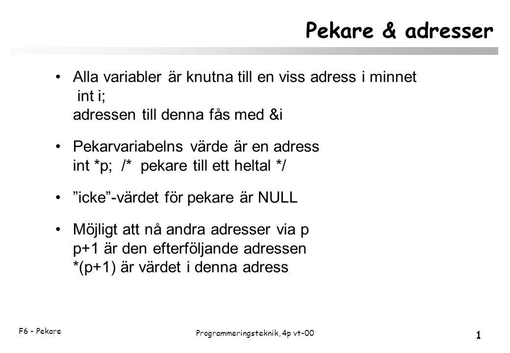 F6 - Pekare 1 Programmeringsteknik, 4p vt-00 Pekare & adresser Alla variabler är knutna till en viss adress i minnet int i; adressen till denna fås med &i Pekarvariabelns värde är en adress int *p; /* pekare till ett heltal */ icke -värdet för pekare är NULL Möjligt att nå andra adresser via p p+1 är den efterföljande adressen *(p+1) är värdet i denna adress