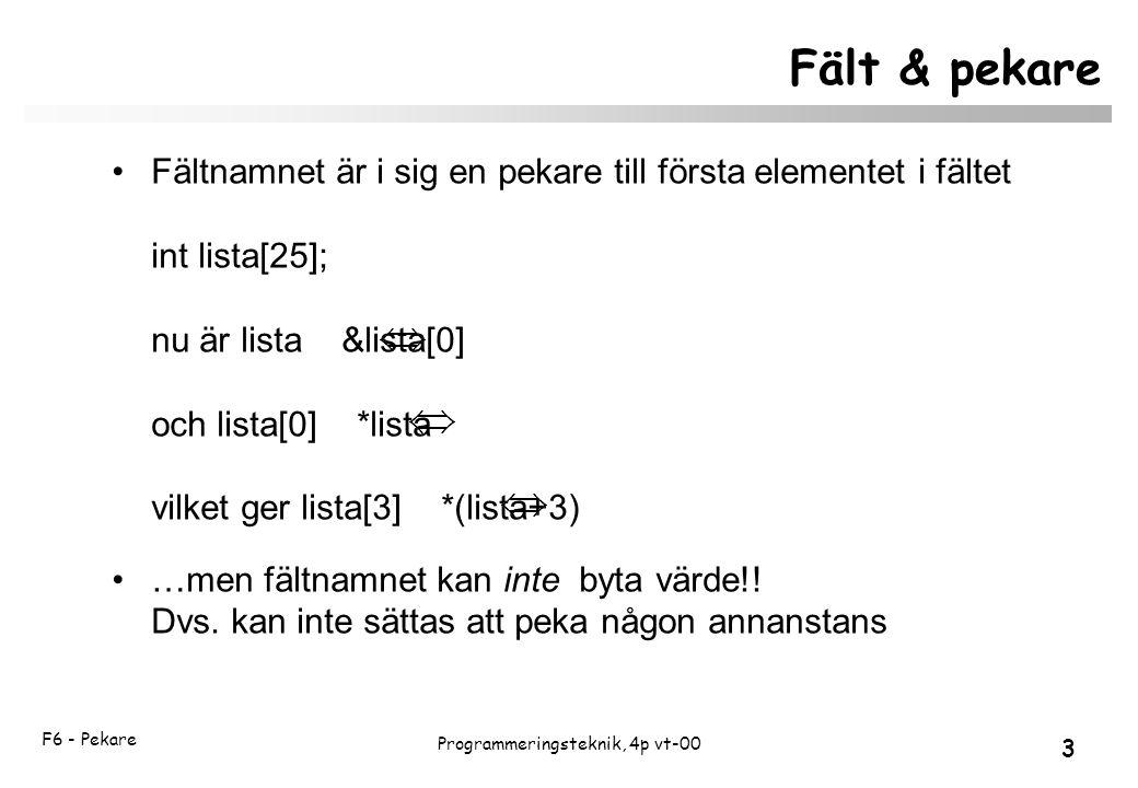 F6 - Pekare 3 Programmeringsteknik, 4p vt-00 Fält & pekare Fältnamnet är i sig en pekare till första elementet i fältet int lista[25]; nu är lista &lista[0] och lista[0] *lista vilket ger lista[3] *(lista+3) …men fältnamnet kan inte byta värde!.