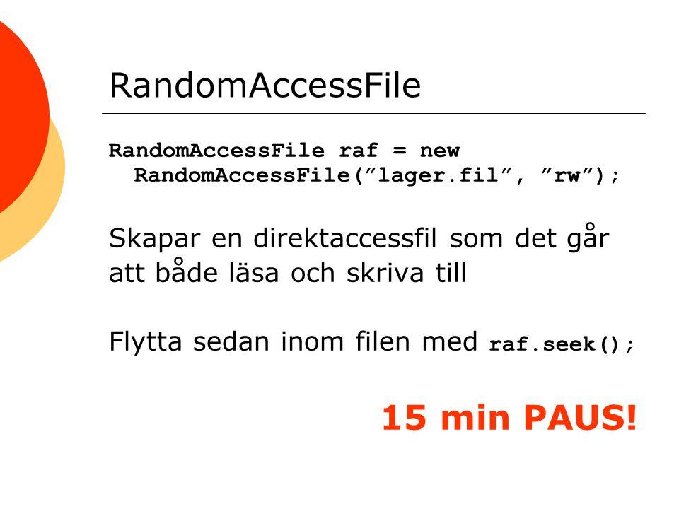 RandomAccessFile RandomAccessFile raf = new RandomAccessFile( lager.fil , rw ); Skapar en direktaccessfil som det går att både läsa och skriva till Flytta sedan inom filen med raf.seek(); 15 min PAUS!