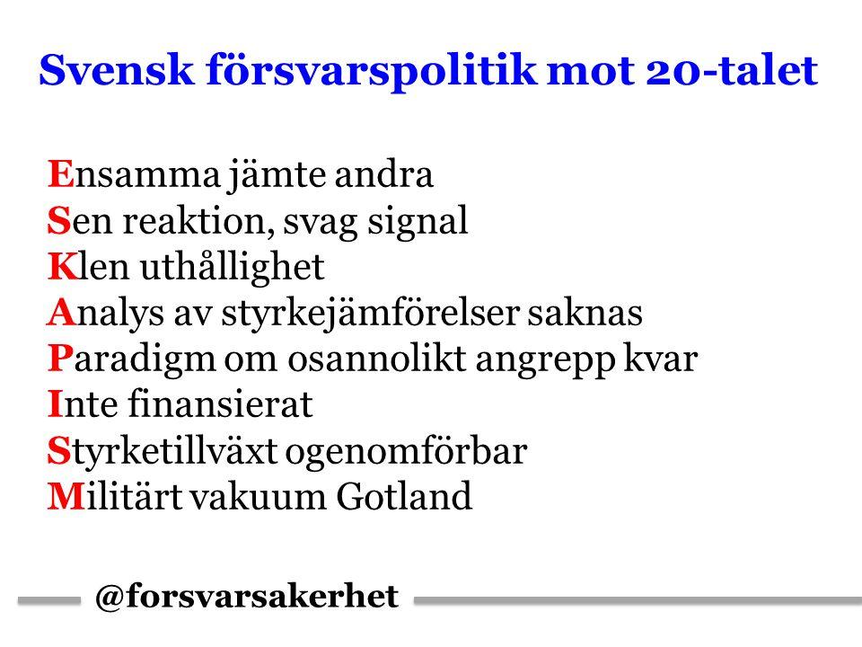 @forsvarsakerhet Svensk försvarspolitik mot 20-talet Ensamma jämte andra Sen reaktion, svag signal Klen uthållighet Analys av styrkejämförelser saknas Paradigm om osannolikt angrepp kvar Inte finansierat Styrketillväxt ogenomförbar Militärt vakuum Gotland