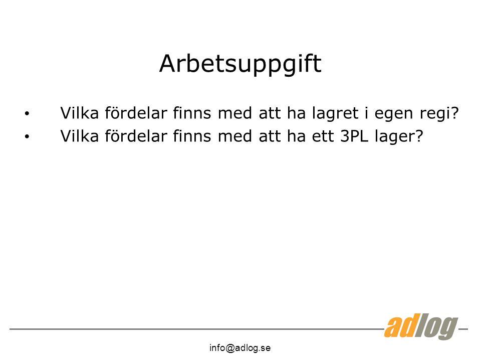info@adlog.se Arbetsuppgift Vilka fördelar finns med att ha lagret i egen regi.