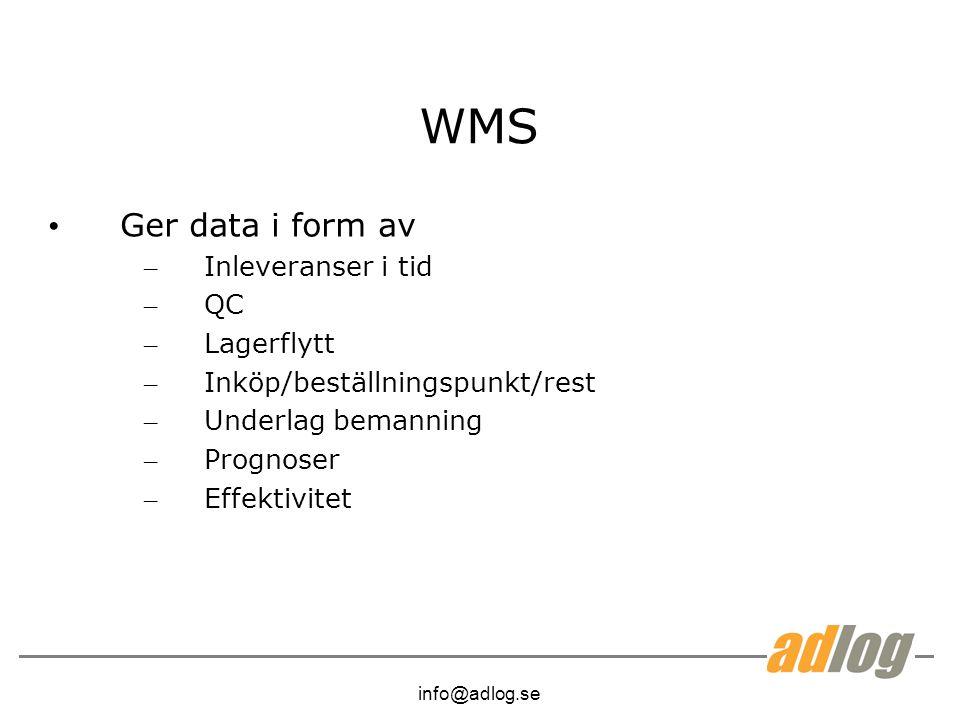info@adlog.se WMS Ger data i form av – Inleveranser i tid – QC – Lagerflytt – Inköp/beställningspunkt/rest – Underlag bemanning – Prognoser – Effektivitet