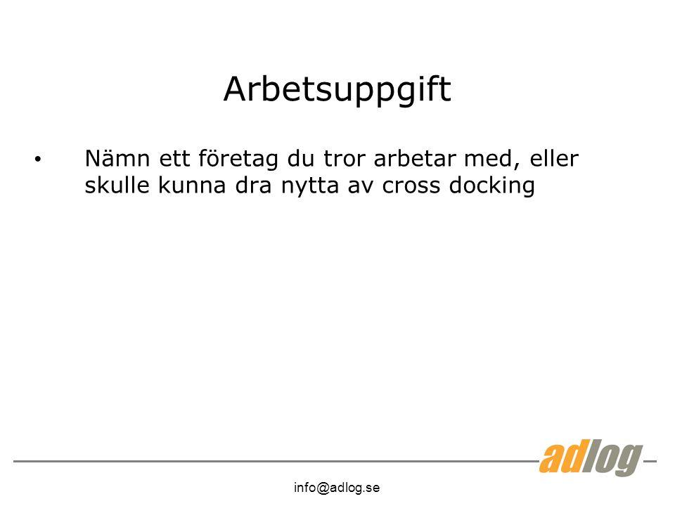 info@adlog.se Arbetsuppgift Nämn ett företag du tror arbetar med, eller skulle kunna dra nytta av cross docking