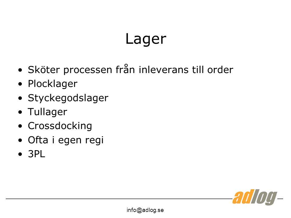 info@adlog.se Lager Sköter processen från inleverans till order Plocklager Styckegodslager Tullager Crossdocking Ofta i egen regi 3PL