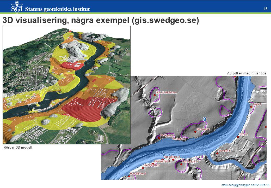 mats.oberg@swedgeo.se/2013-05-16 18 3D visualisering, några exempel (gis.swedgeo.se) Körbar 3D-pdf (gjord i FME) Körbar 3D-modell A3 pdf-er med hillsh