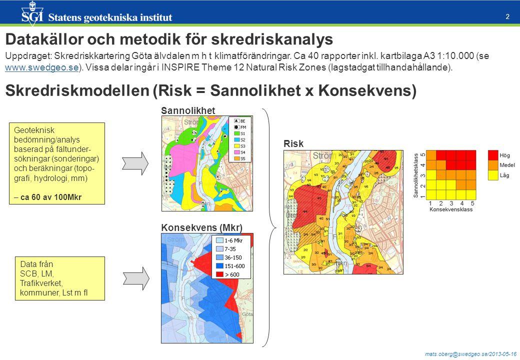 mats.oberg@swedgeo.se/2013-05-16 2 Datakällor och metodik för skredriskanalys Uppdraget: Skredriskkartering Göta älvdalen m h t klimatförändringar.