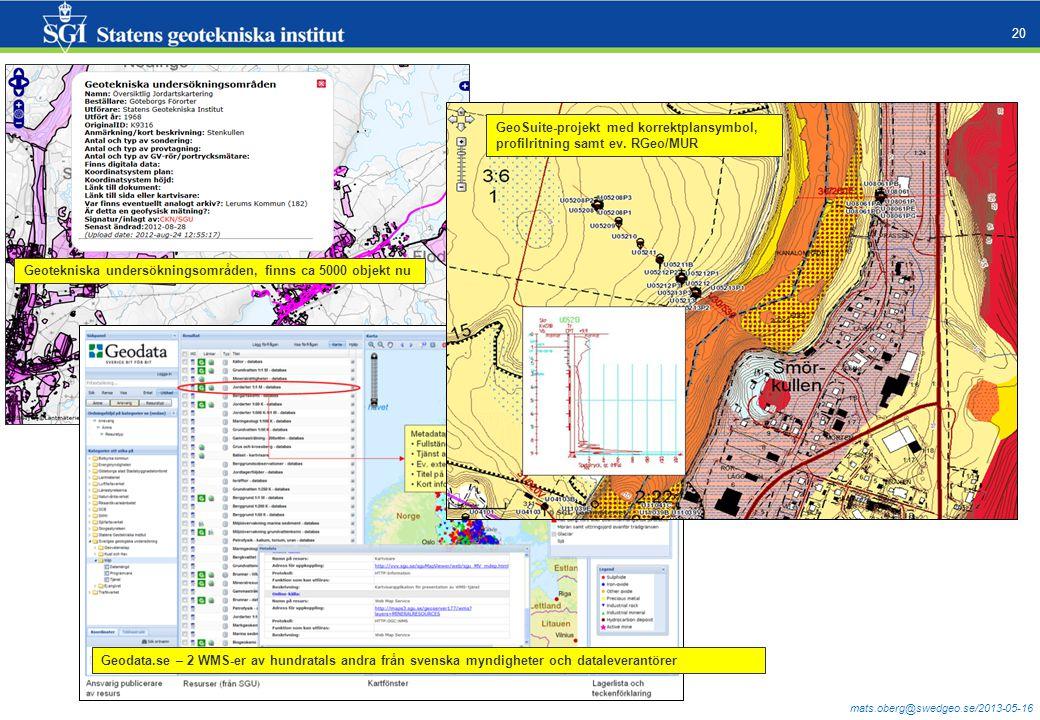 mats.oberg@swedgeo.se/2013-05-16 20 Geotekniska undersökningsområden, finns ca 5000 objekt nu Geodata.se – 2 WMS-er av hundratals andra från svenska myndigheter och dataleverantörer GeoSuite-projekt med korrektplansymbol, profilritning samt ev.