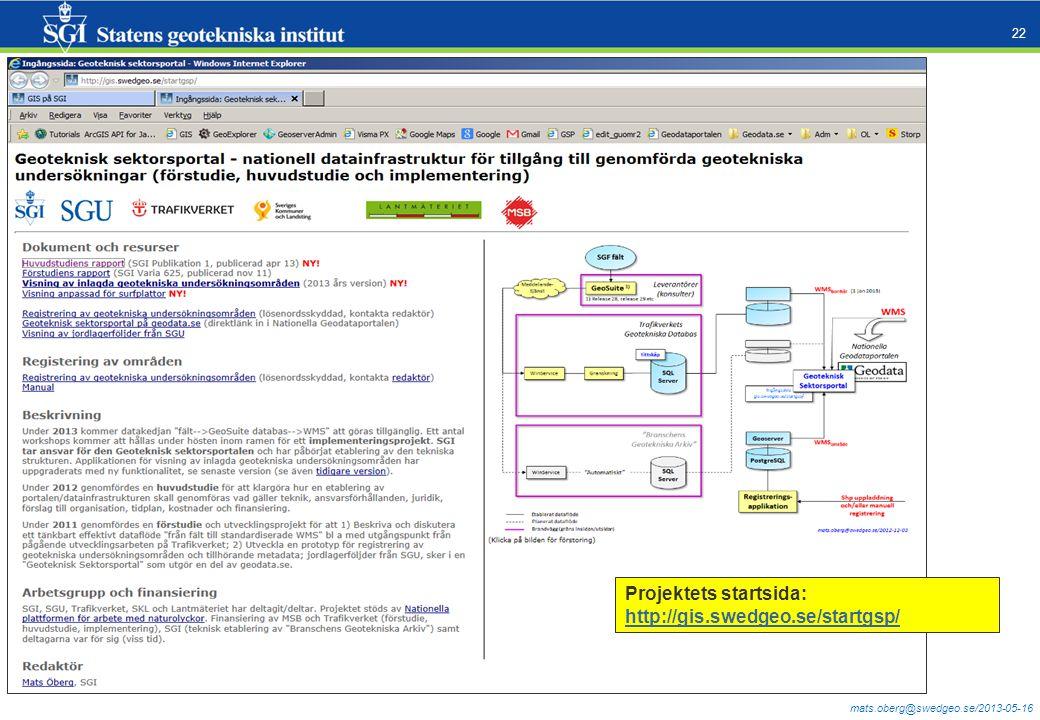 mats.oberg@swedgeo.se/2013-05-16 22 Projektets startsida: http://gis.swedgeo.se/startgsp/ http://gis.swedgeo.se/startgsp/