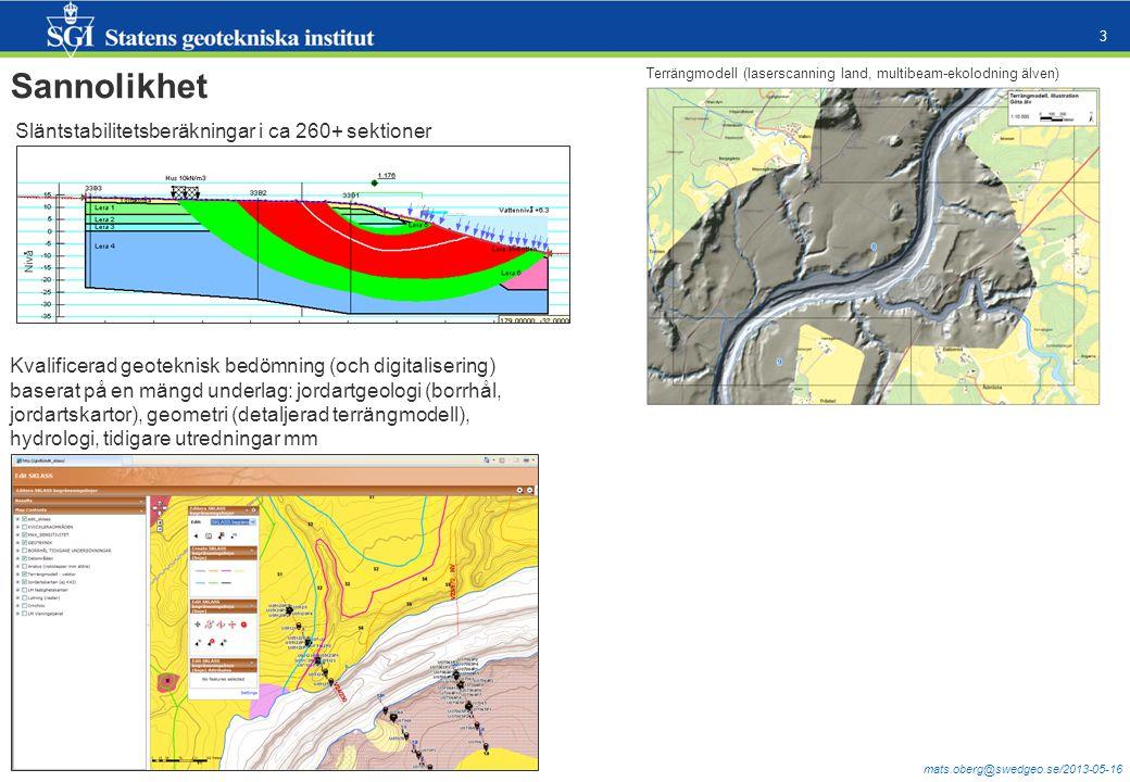 mats.oberg@swedgeo.se/2013-05-16 3 Sannolikhet Släntstabilitetsberäkningar i ca 260+ sektioner Kvalificerad geoteknisk bedömning (och digitalisering) baserat på en mängd underlag: jordartgeologi (borrhål, jordartskartor), geometri (detaljerad terrängmodell), hydrologi, tidigare utredningar mm Terrängmodell (laserscanning land, multibeam-ekolodning älven)