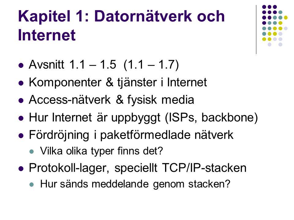 Kapitel 1: Datornätverk och Internet Avsnitt 1.1 – 1.5 (1.1 – 1.7) Komponenter & tjänster i Internet Access-nätverk & fysisk media Hur Internet är upp