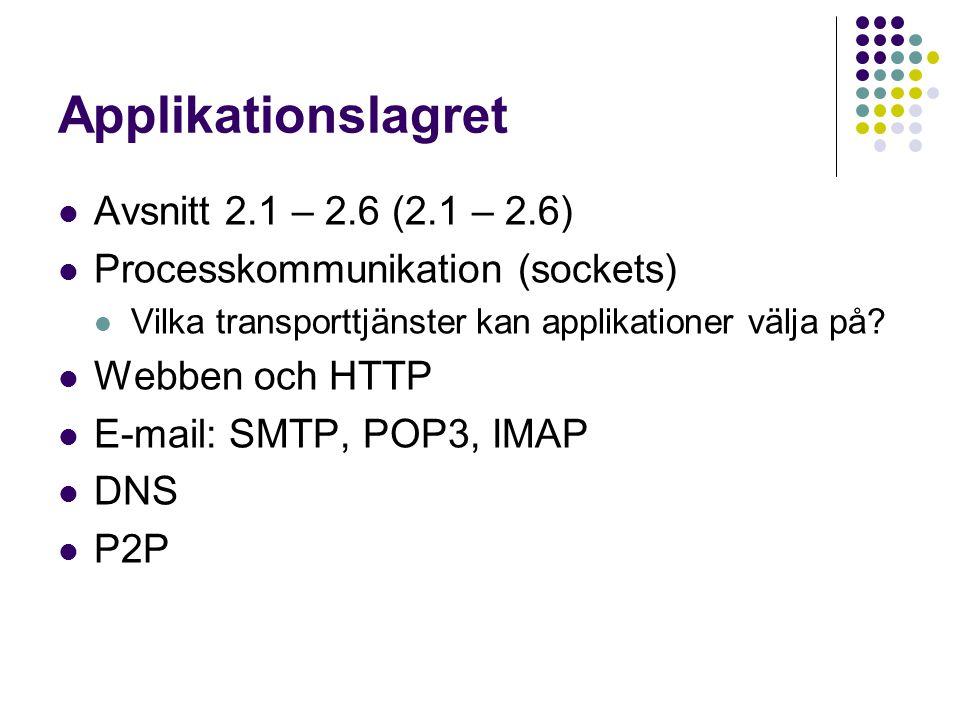 Applikationslagret Avsnitt 2.1 – 2.6 (2.1 – 2.6) Processkommunikation (sockets) Vilka transporttjänster kan applikationer välja på? Webben och HTTP E-