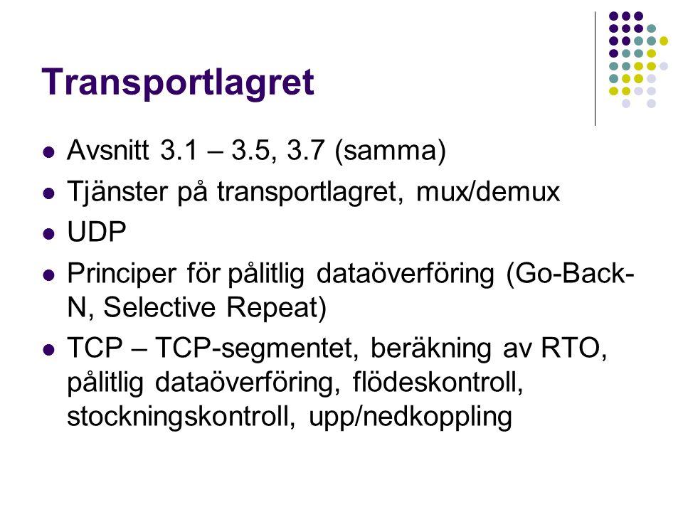 Transportlagret Avsnitt 3.1 – 3.5, 3.7 (samma) Tjänster på transportlagret, mux/demux UDP Principer för pålitlig dataöverföring (Go-Back- N, Selective