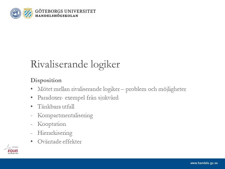www.handels.gu.se Mötet mellan rivaliserande logiker – problem och möjligheter (Relevansen av att förstå mer av innebörden av rivaliserande logiker.