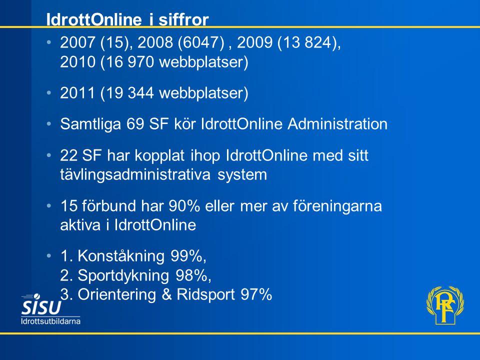 IdrottOnline i siffror 2007 (15), 2008 (6047), 2009 (13 824), 2010 (16 970 webbplatser) 2011 (19 344 webbplatser) Samtliga 69 SF kör IdrottOnline Administration 22 SF har kopplat ihop IdrottOnline med sitt tävlingsadministrativa system 15 förbund har 90% eller mer av föreningarna aktiva i IdrottOnline 1.